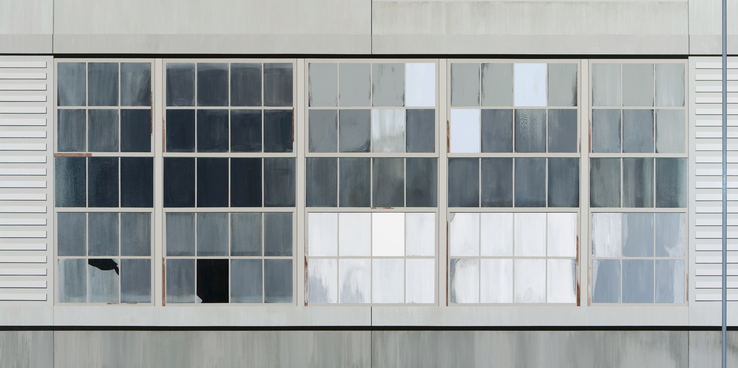 Sarah McKenzie - Gates Factory Window #5 (Long Grid with Pole)